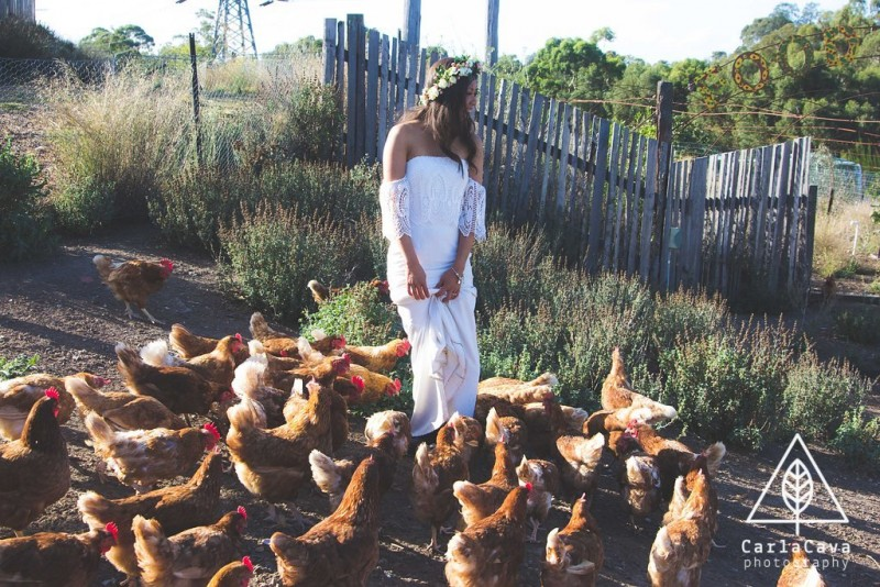 Jossandria on the farm with the chickens